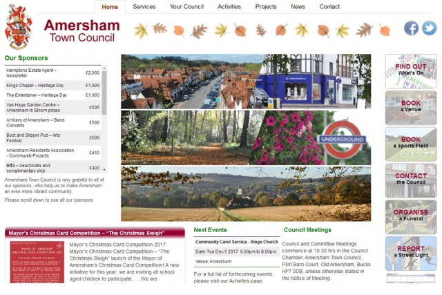 screenshot of amersham town council web site, developed by dovedale deisgn