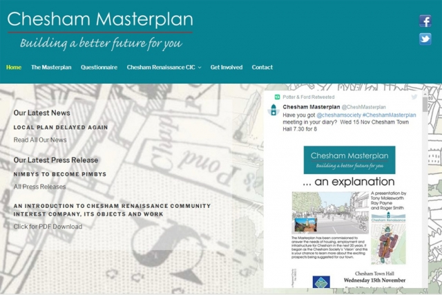 screenshot of chesham masterplan web site, developed by dovedale deisgn
