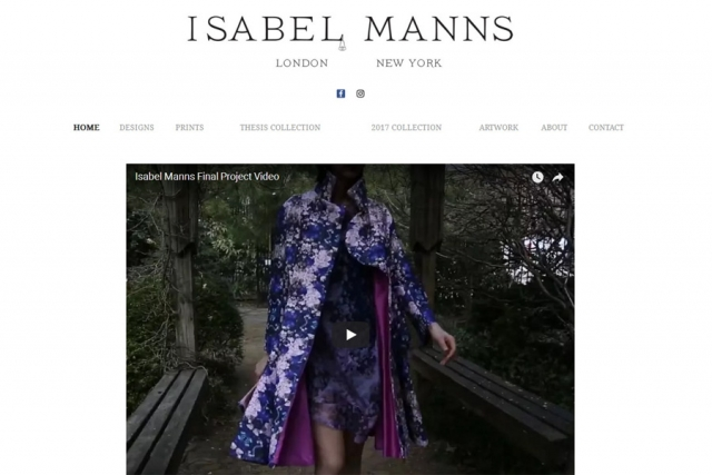 screenshot of isabel manns web site, developed by dovedale deisgn