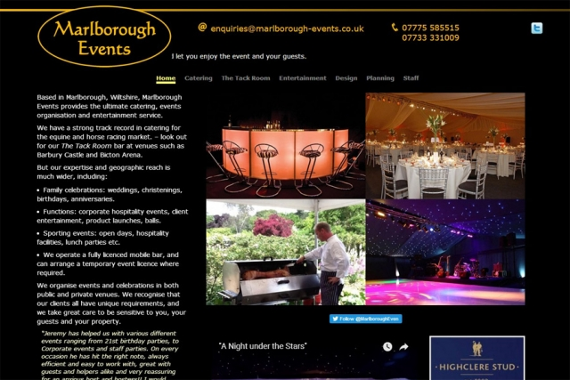 screenshot of marlborough events web site, developed by dovedale deisgn