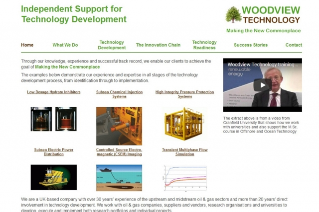 screenshot of woodview techology web site, developed by dovedale deisgn