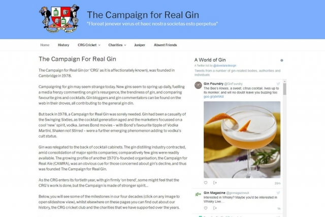website for members club Campaign for Real Gin by Dovedale Design