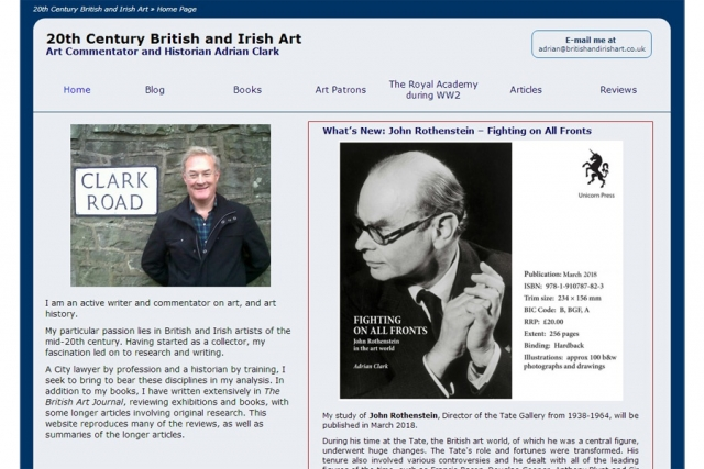 screenshot of britishandirishart web site, developed by dovedale deisgn