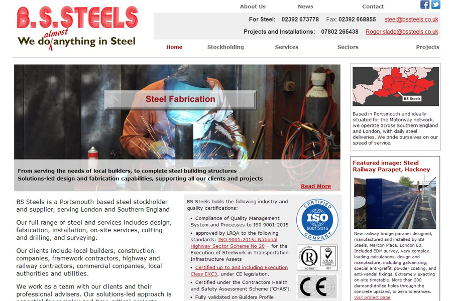 screenshot of BS Steels web site, developed by dovedale deisgn
