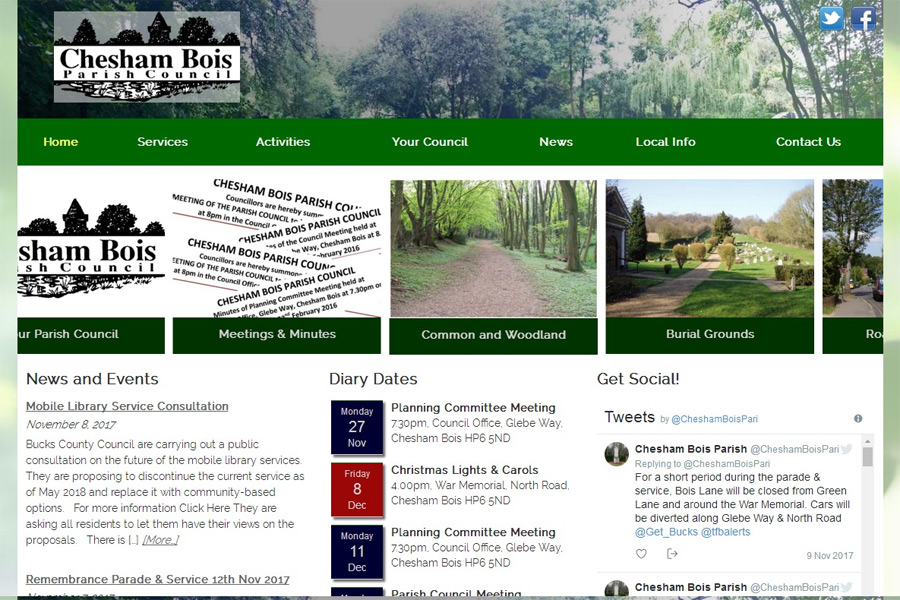 screenshot of chesham bois parish council web site, developed by dovedale deisgn