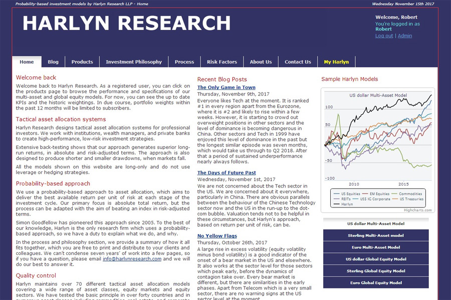 screenshot of harlyn research web site, developed by dovedale deisgn